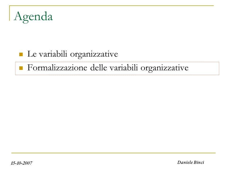 15-10-2007 Daniele Binci Agenda Le variabili organizzative Formalizzazione delle variabili organizzative