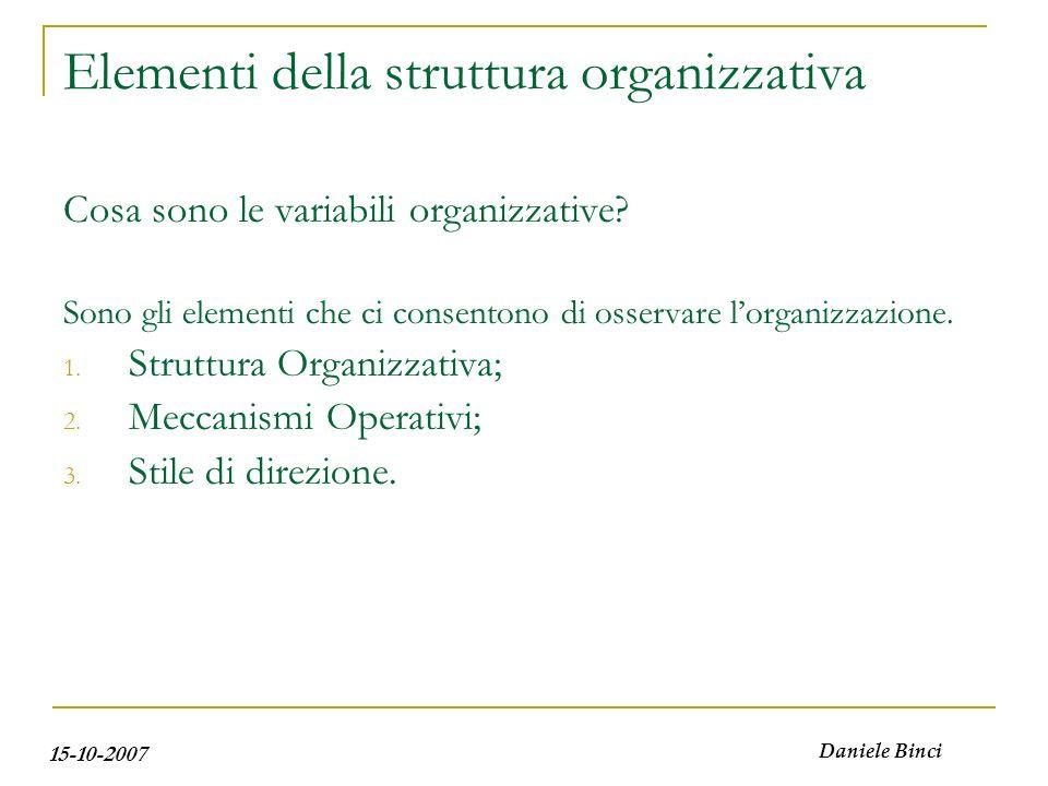 15-10-2007 Daniele Binci Elementi della struttura organizzativa Cosa sono le variabili organizzative? Sono gli elementi che ci consentono di osservare