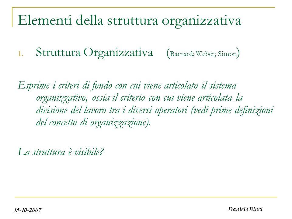 15-10-2007 Daniele Binci 1. Struttura Organizzativa ( Barnard; Weber; Simon ) Esprime i criteri di fondo con cui viene articolato il sistema organizza
