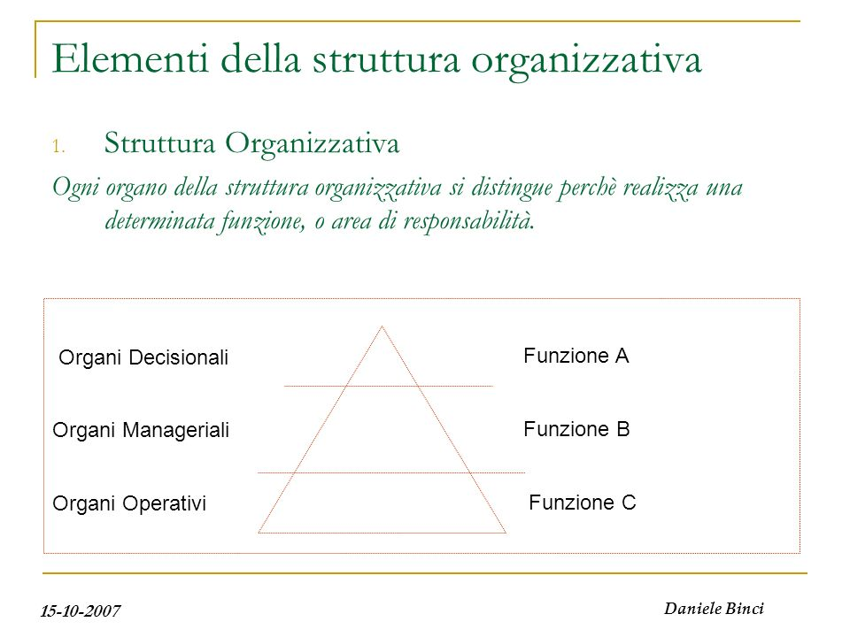15-10-2007 Daniele Binci Elementi della struttura organizzativa 1. Struttura Organizzativa Ogni organo della struttura organizzativa si distingue perc