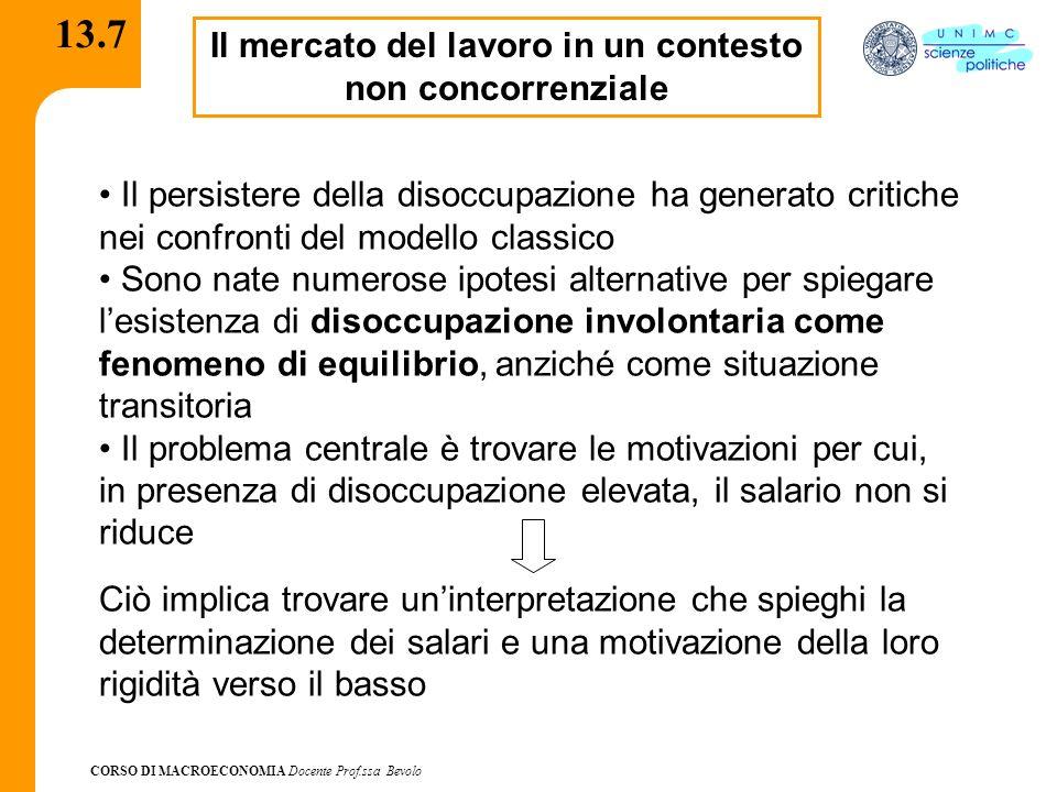 CORSO DI MACROECONOMIA Docente Prof.ssa Bevolo 13.7 Il mercato del lavoro in un contesto non concorrenziale Il persistere della disoccupazione ha gene
