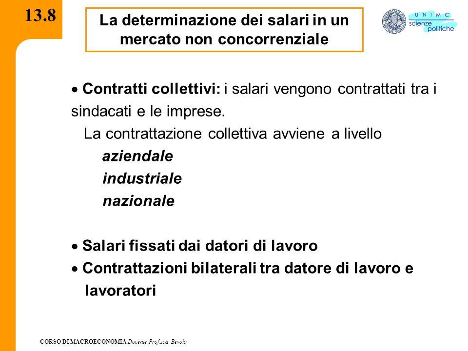 CORSO DI MACROECONOMIA Docente Prof.ssa Bevolo 13.8 La determinazione dei salari in un mercato non concorrenziale Contratti collettivi: i salari vengo