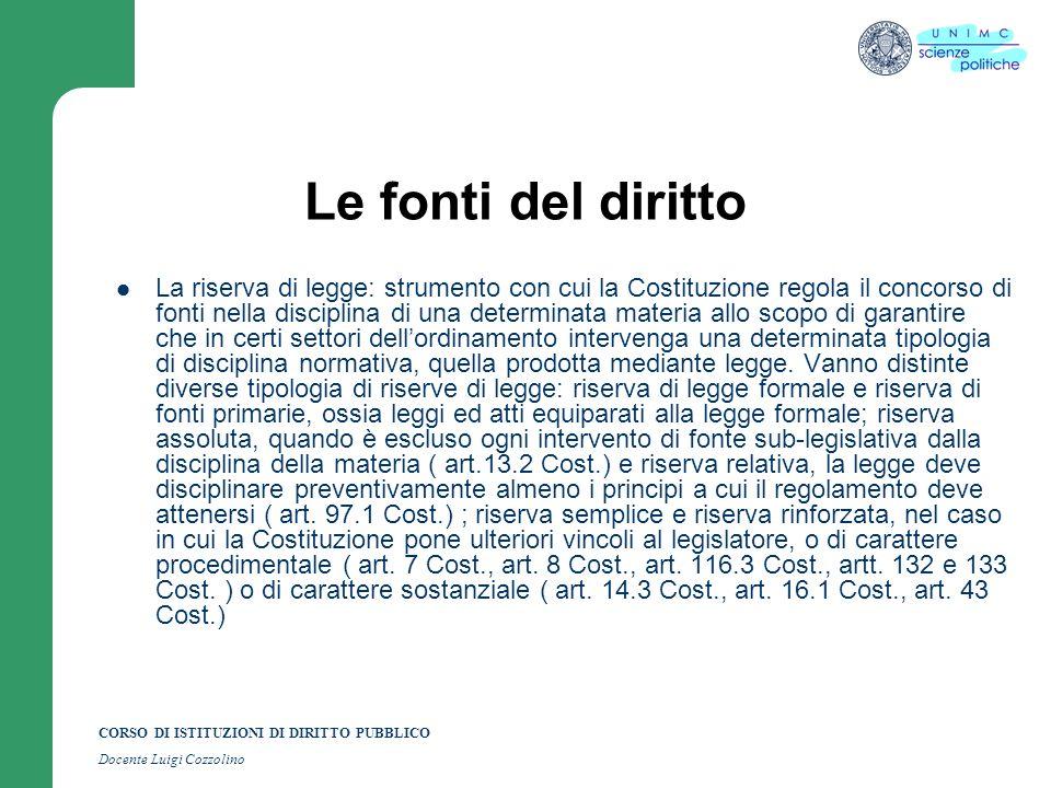 CORSO DI ISTITUZIONI DI DIRITTO PUBBLICO Docente Luigi Cozzolino Le fonti del diritto La riserva di legge: strumento con cui la Costituzione regola il