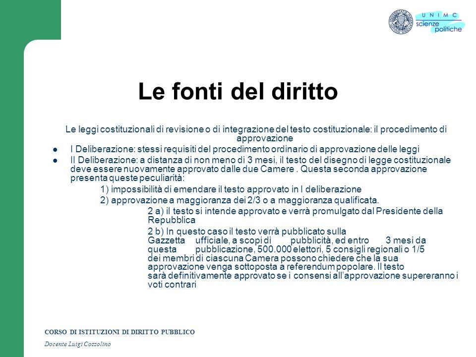 CORSO DI ISTITUZIONI DI DIRITTO PUBBLICO Docente Luigi Cozzolino Le fonti del diritto Le leggi costituzionali di revisione o di integrazione del testo