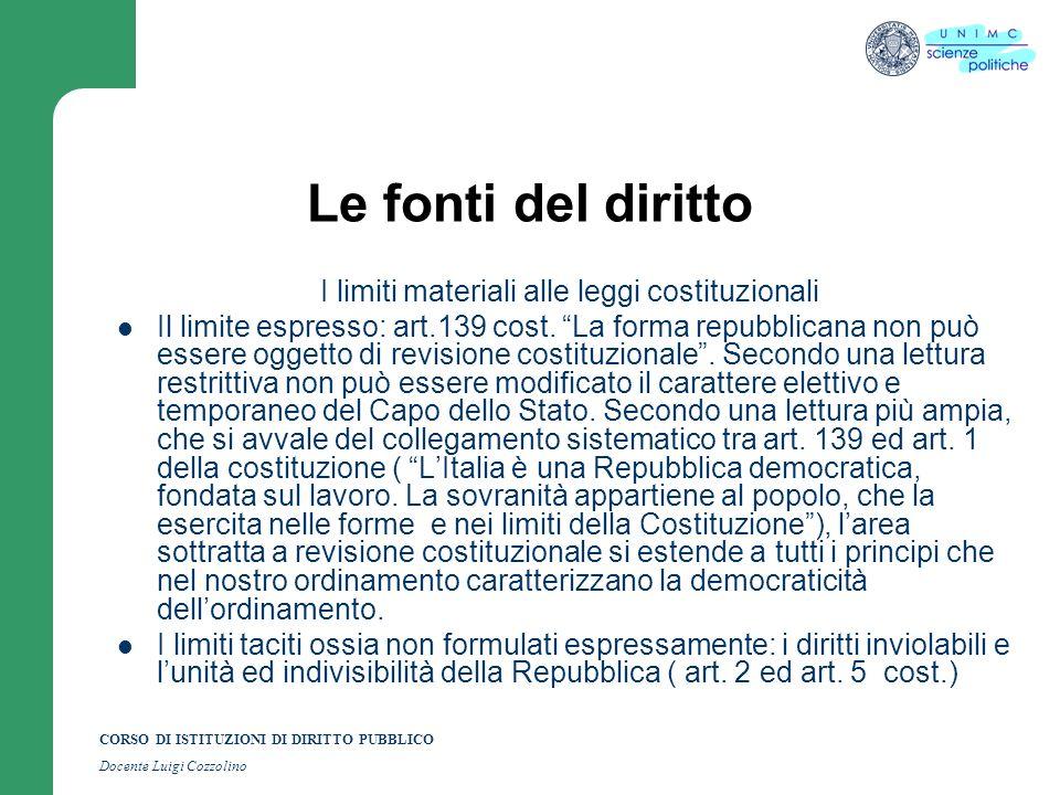 CORSO DI ISTITUZIONI DI DIRITTO PUBBLICO Docente Luigi Cozzolino Le fonti del diritto I limiti materiali alle leggi costituzionali Il limite espresso:
