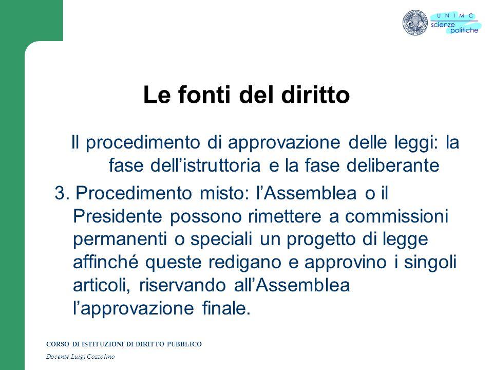 CORSO DI ISTITUZIONI DI DIRITTO PUBBLICO Docente Luigi Cozzolino Le fonti del diritto Il procedimento di approvazione delle leggi: la fase dellistrutt