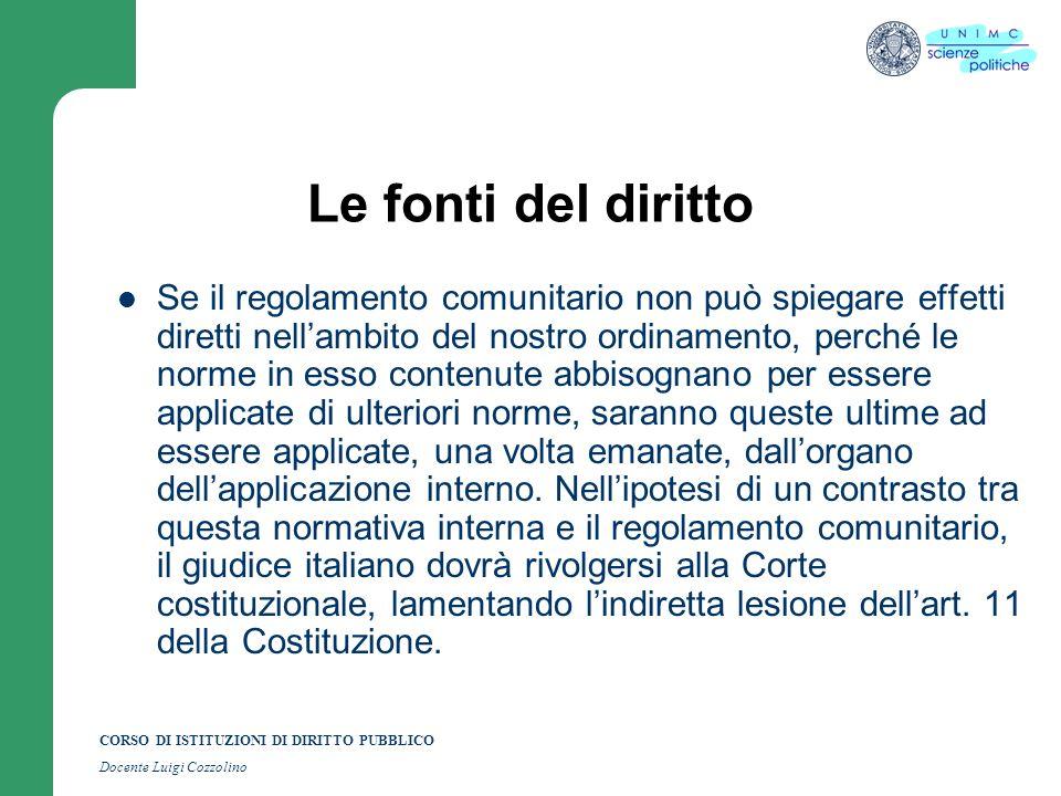 CORSO DI ISTITUZIONI DI DIRITTO PUBBLICO Docente Luigi Cozzolino Le fonti del diritto Se il regolamento comunitario non può spiegare effetti diretti n