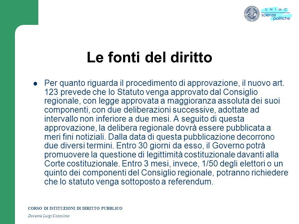 CORSO DI ISTITUZIONI DI DIRITTO PUBBLICO Docente Luigi Cozzolino Le fonti del diritto Per quanto riguarda il procedimento di approvazione, il nuovo ar