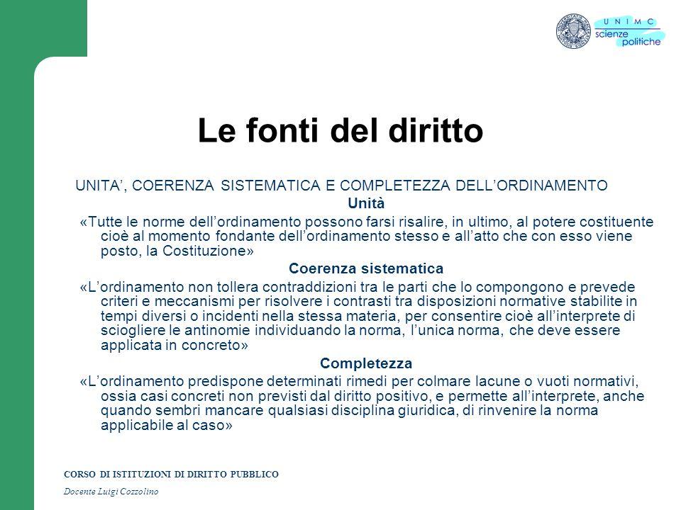 CORSO DI ISTITUZIONI DI DIRITTO PUBBLICO Docente Luigi Cozzolino Le fonti del diritto UNITA, COERENZA SISTEMATICA E COMPLETEZZA DELLORDINAMENTO Unità
