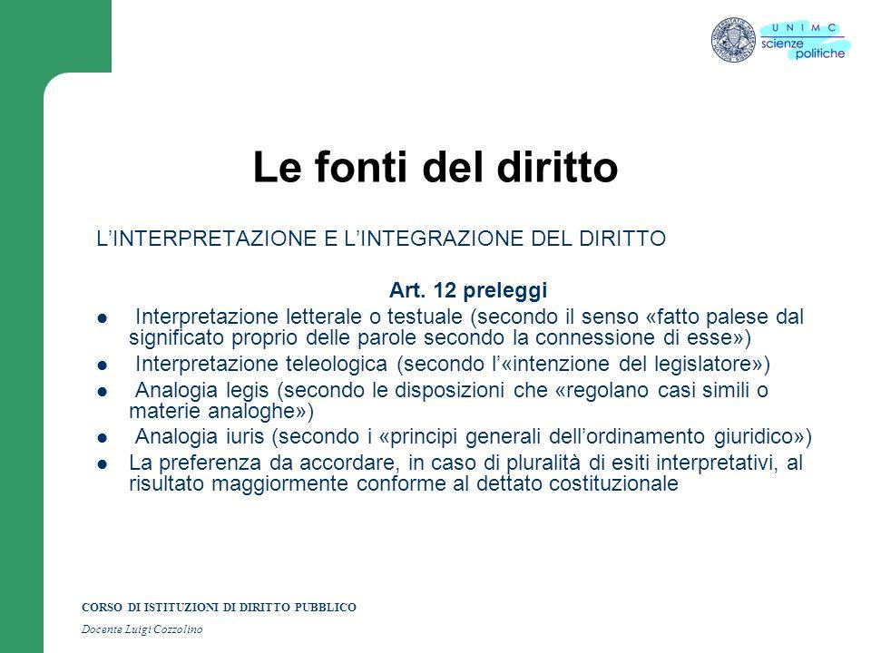 CORSO DI ISTITUZIONI DI DIRITTO PUBBLICO Docente Luigi Cozzolino Le fonti del diritto LINTERPRETAZIONE E LINTEGRAZIONE DEL DIRITTO Art. 12 preleggi In