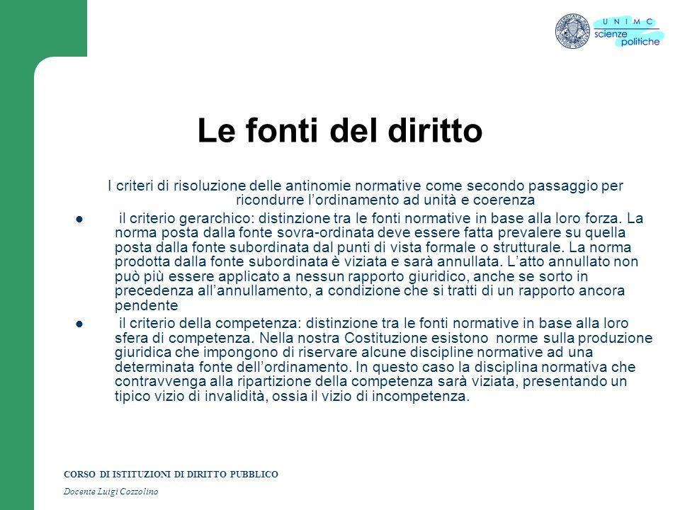 CORSO DI ISTITUZIONI DI DIRITTO PUBBLICO Docente Luigi Cozzolino Le fonti del diritto I criteri di risoluzione delle antinomie normative come secondo