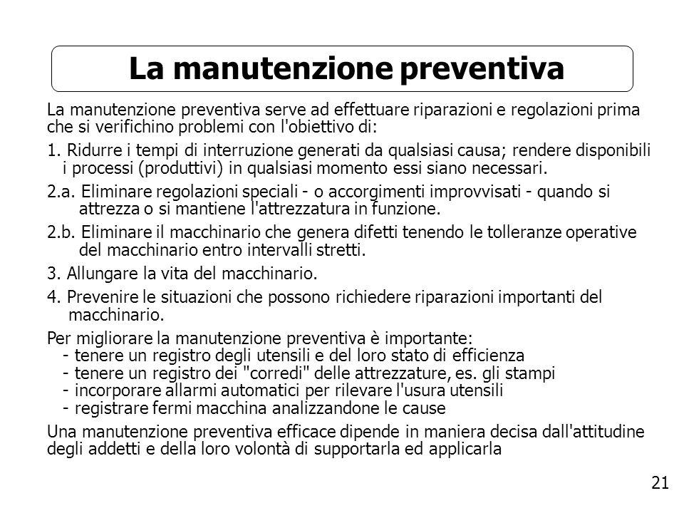 21 La manutenzione preventiva La manutenzione preventiva serve ad effettuare riparazioni e regolazioni prima che si verifichino problemi con l'obietti