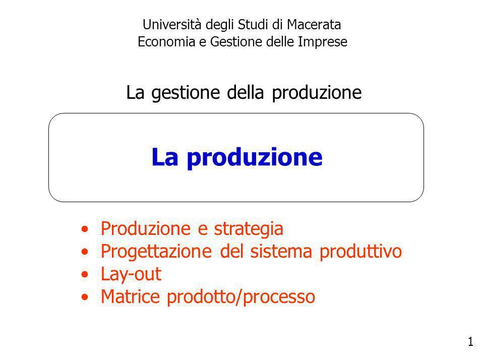 2 La gestione della produzione Produzione = attività di acquisizione, combinazione e trasformazione di un input (materie prime, semilavorati o componenti) in output da destinare al consumo finale o ad una successiva produzione.