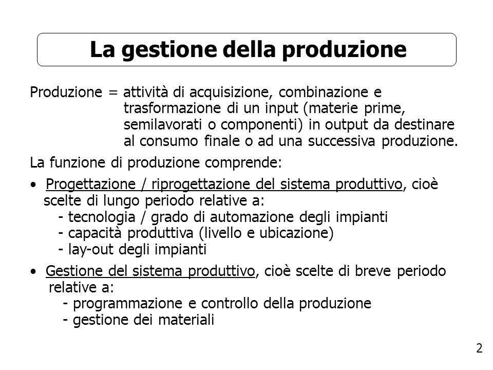 2 La gestione della produzione Produzione = attività di acquisizione, combinazione e trasformazione di un input (materie prime, semilavorati o compone
