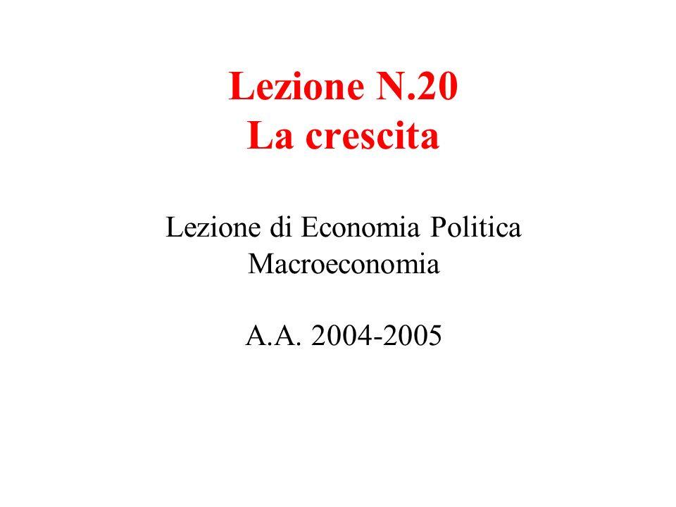 Lezione N.20 La crescita Lezione di Economia Politica Macroeconomia A.A. 2004-2005