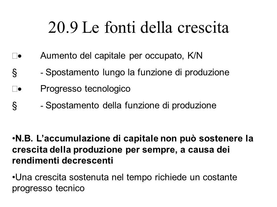 20.9 Le fonti della crescita Aumento del capitale per occupato, K/N - Spostamento lungo la funzione di produzione Progresso tecnologico - Spostamento