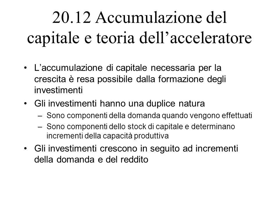 20.12 Accumulazione del capitale e teoria dellacceleratore Laccumulazione di capitale necessaria per la crescita è resa possibile dalla formazione deg