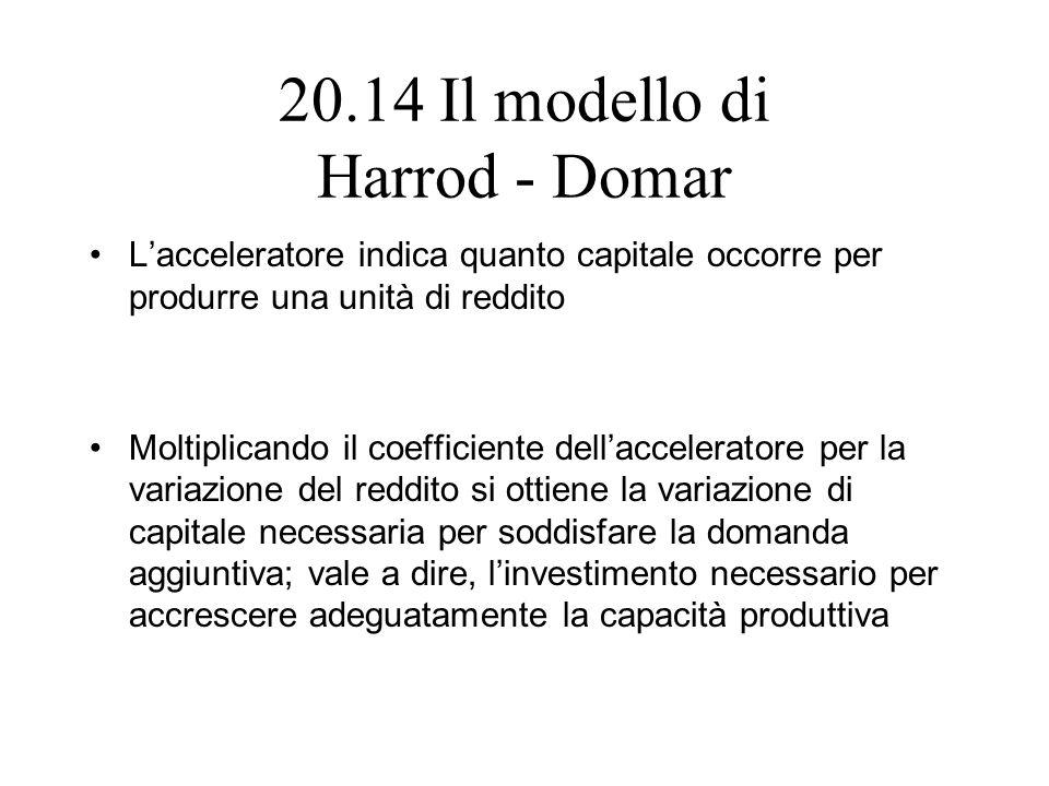 20.14 Il modello di Harrod - Domar Lacceleratore indica quanto capitale occorre per produrre una unità di reddito Moltiplicando il coefficiente dellac
