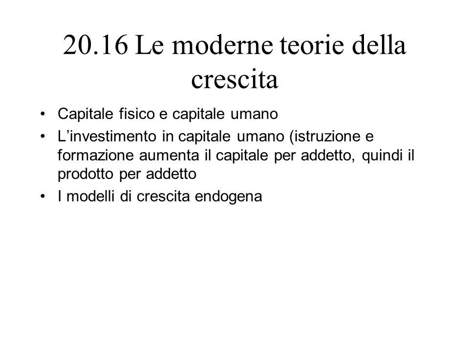20.16 Le moderne teorie della crescita Capitale fisico e capitale umano Linvestimento in capitale umano (istruzione e formazione aumenta il capitale p