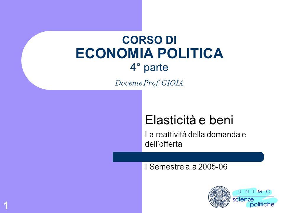 1 CORSO DI ECONOMIA POLITICA 4° parte Docente Prof. GIOIA Elasticità e beni La reattività della domanda e dellofferta I Semestre a.a 2005-06