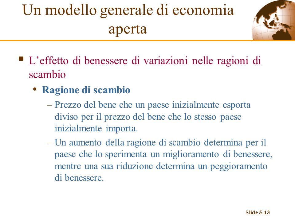 Slide 5-13 Leffetto di benessere di variazioni nelle ragioni di scambio Ragione di scambio –Prezzo del bene che un paese inizialmente esporta diviso p