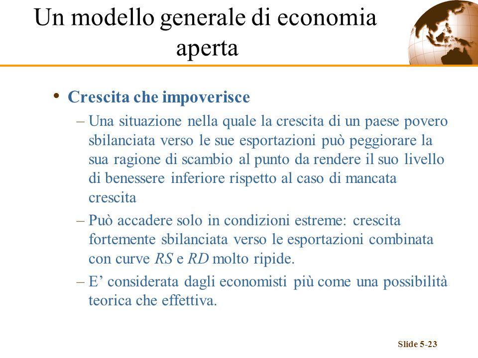 Slide 5-23 Crescita che impoverisce –Una situazione nella quale la crescita di un paese povero sbilanciata verso le sue esportazioni può peggiorare la