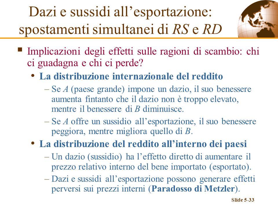 Slide 5-33 Implicazioni degli effetti sulle ragioni di scambio: chi ci guadagna e chi ci perde? La distribuzione internazionale del reddito –Se A (pae