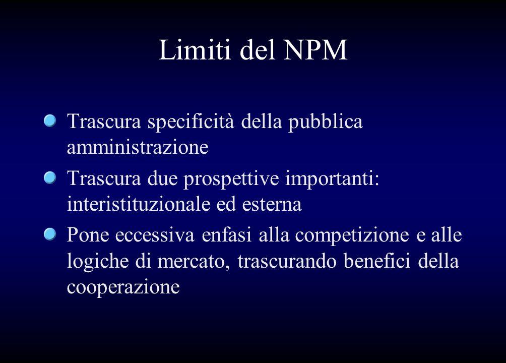 Limiti del NPM Trascura specificità della pubblica amministrazione Trascura due prospettive importanti: interistituzionale ed esterna Pone eccessiva e