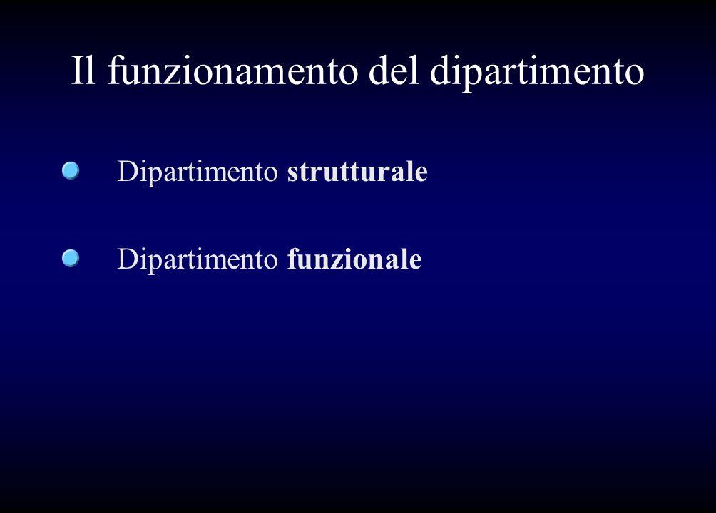 Il funzionamento del dipartimento Dipartimento strutturale Dipartimento funzionale