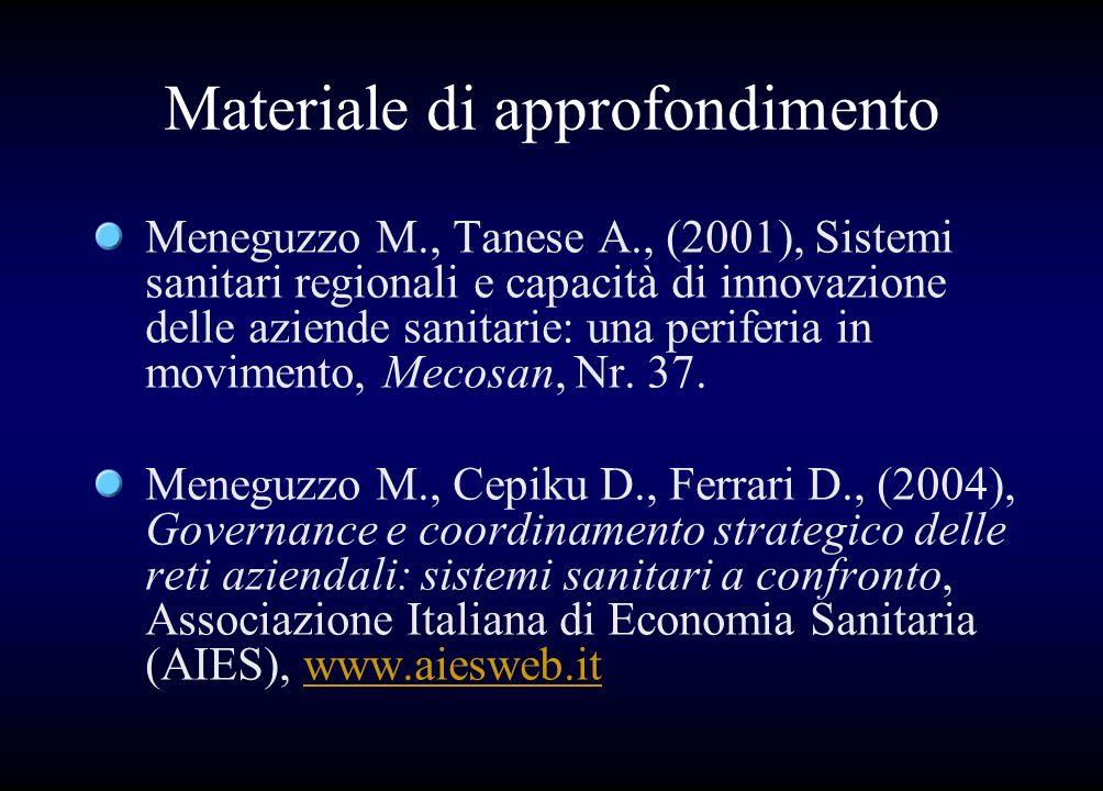 Materiale di approfondimento Meneguzzo M., Tanese A., (2001), Sistemi sanitari regionali e capacità di innovazione delle aziende sanitarie: una perife