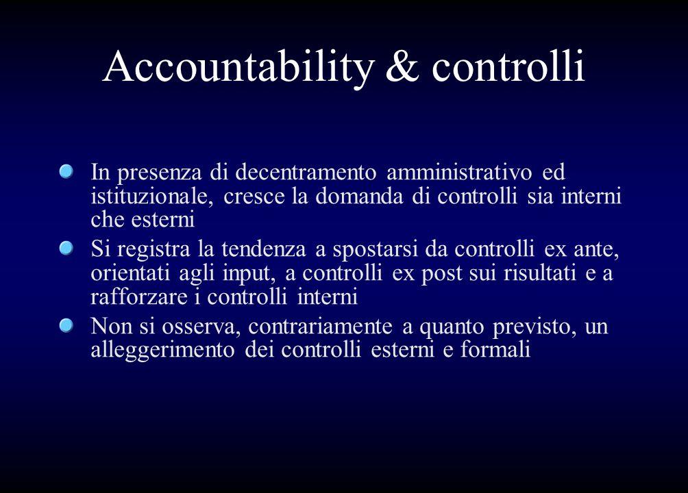 Accountability & controlli In presenza di decentramento amministrativo ed istituzionale, cresce la domanda di controlli sia interni che esterni Si reg