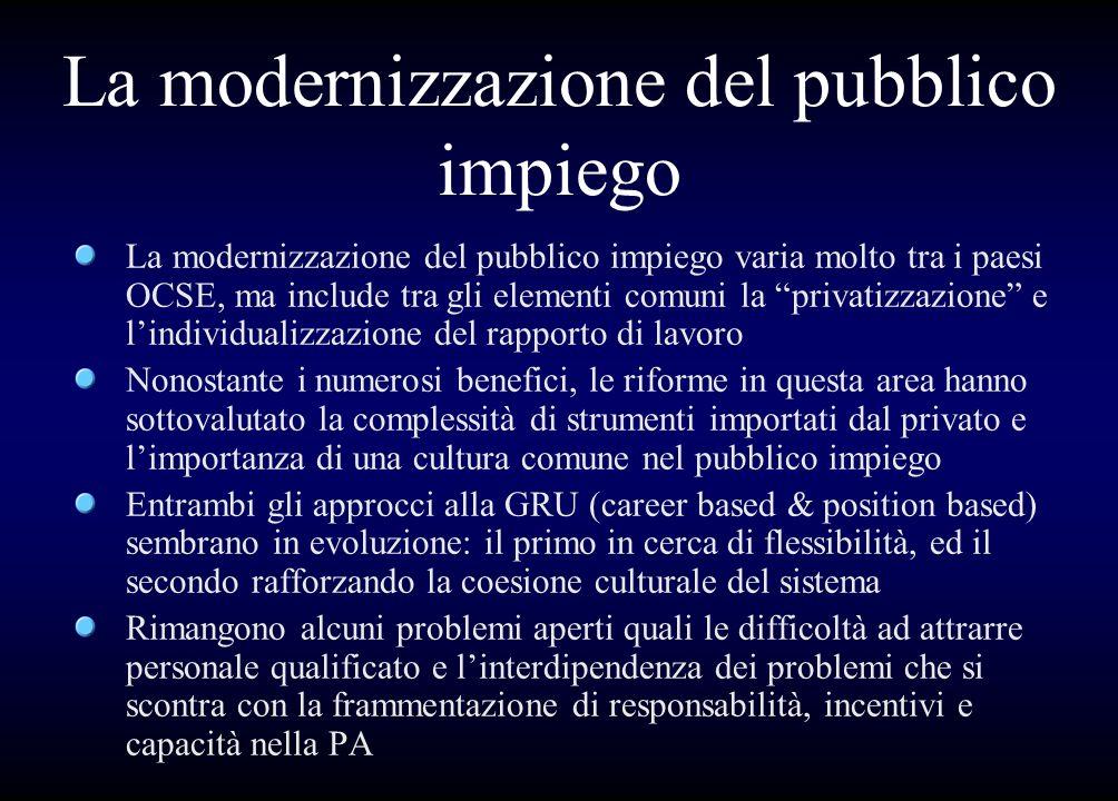 La modernizzazione del pubblico impiego La modernizzazione del pubblico impiego varia molto tra i paesi OCSE, ma include tra gli elementi comuni la pr