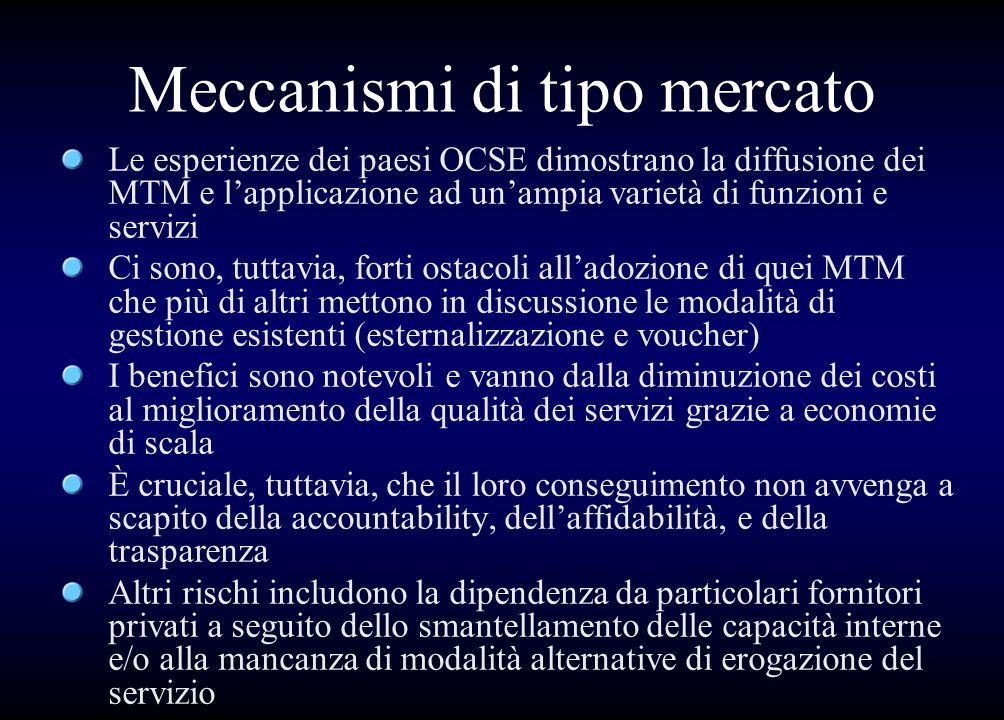 Meccanismi di tipo mercato Le esperienze dei paesi OCSE dimostrano la diffusione dei MTM e lapplicazione ad unampia varietà di funzioni e servizi Ci s