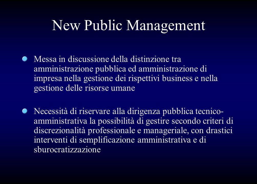 Idee chiave del NPM Esigenza di fornire la massima autonomia e discrezionalità al management pubblico Spostare così lasse di riflessione dal binomio politici-manager al binomio manager-utente Introdurre tecniche manageriali dal settore privato (for profit e non profit)