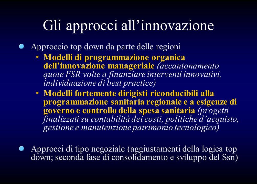 Gli approcci allinnovazione Approccio top down da parte delle regioni Modelli di programmazione organica dellinnovazione manageriale (accantonamento q