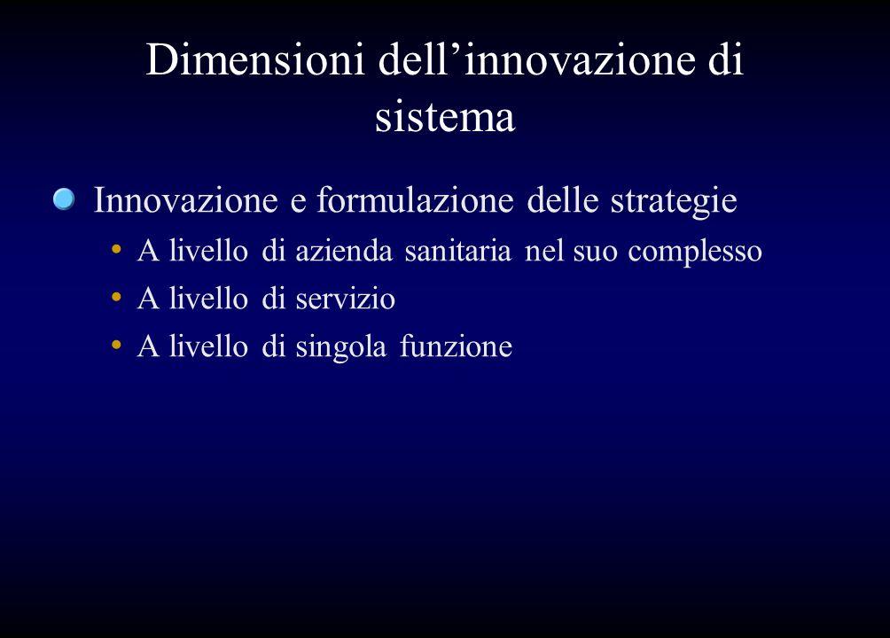 Dimensioni dellinnovazione di sistema Innovazione e formulazione delle strategie A livello di azienda sanitaria nel suo complesso A livello di servizi