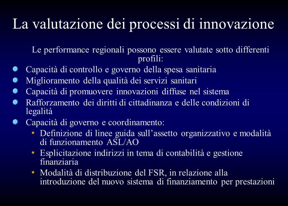 La valutazione dei processi di innovazione Le performance regionali possono essere valutate sotto differenti profili: Capacità di controllo e governo