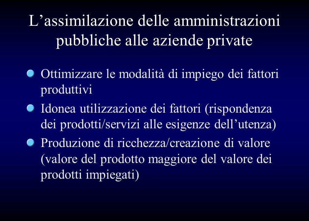 Lassimilazione delle amministrazioni pubbliche alle aziende private Ottimizzare le modalità di impiego dei fattori produttivi Idonea utilizzazione dei
