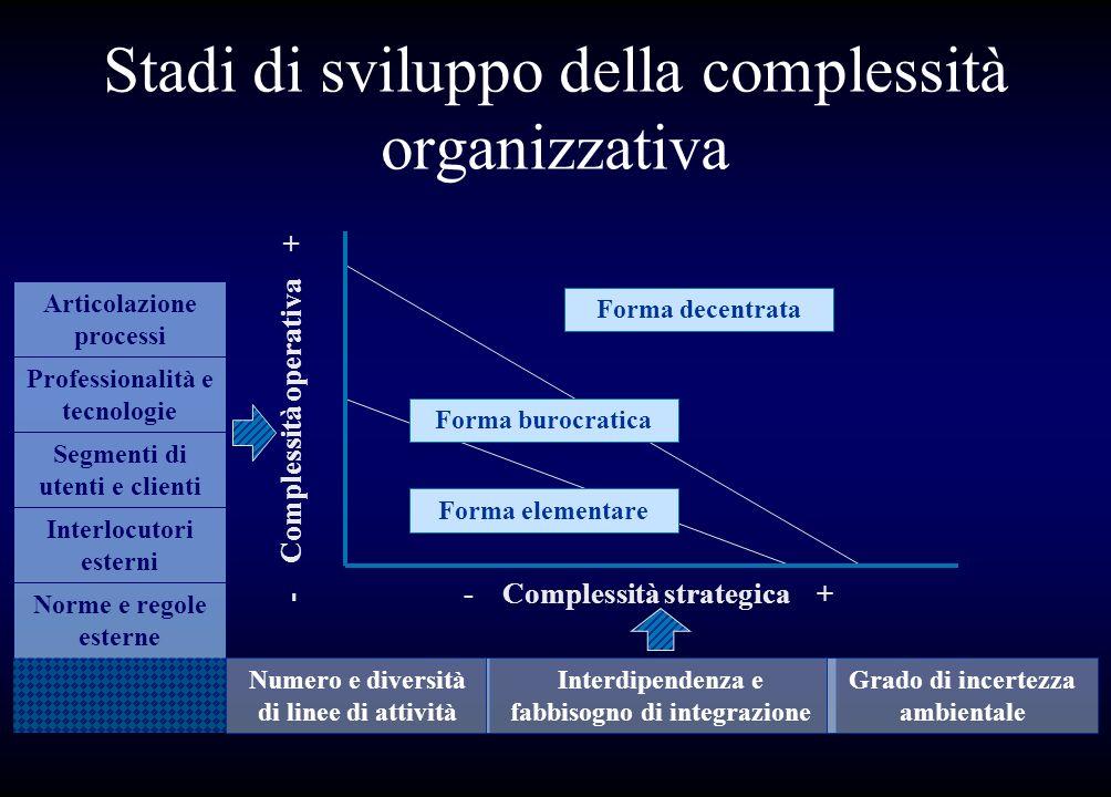 Stadi di sviluppo della complessità organizzativa Articolazione processi Professionalità e tecnologie Segmenti di utenti e clienti Interlocutori ester