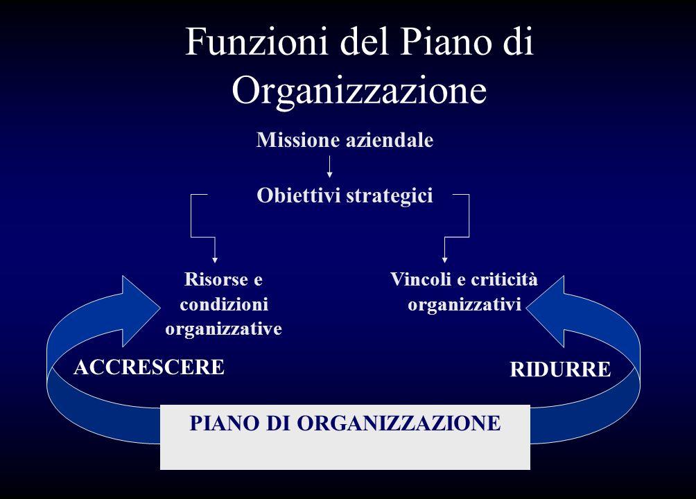 Funzioni del Piano di Organizzazione Missione aziendale Obiettivi strategici Risorse e condizioni organizzative Vincoli e criticità organizzativi ACCR