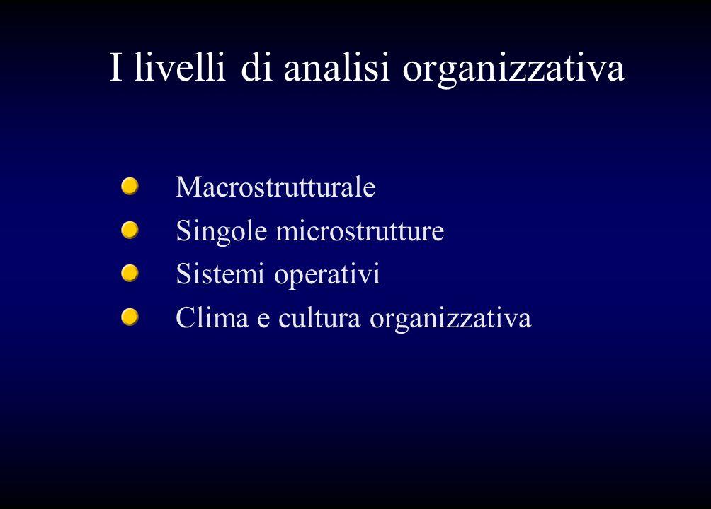 I livelli di analisi organizzativa Macrostrutturale Singole microstrutture Sistemi operativi Clima e cultura organizzativa