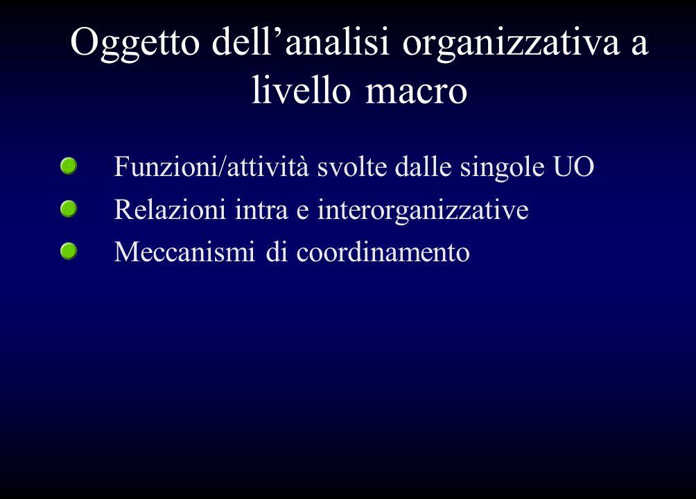 Oggetto dellanalisi organizzativa a livello macro Funzioni/attività svolte dalle singole UO Relazioni intra e interorganizzative Meccanismi di coordin