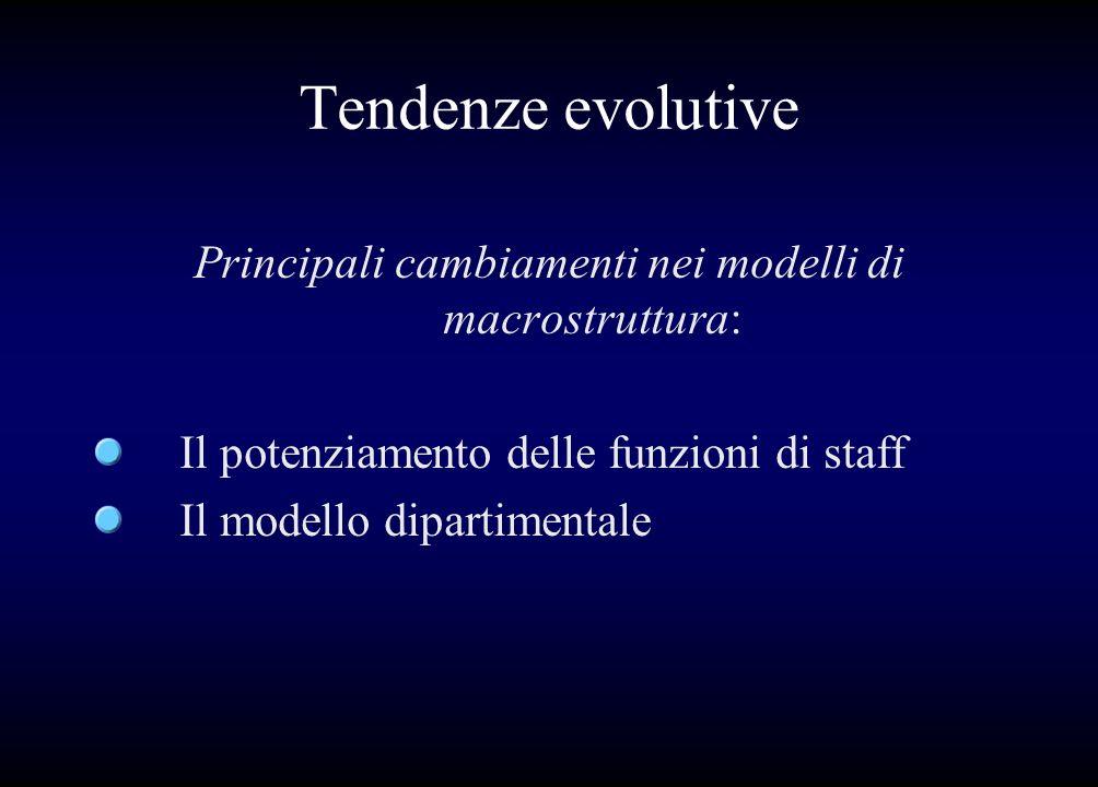 Tendenze evolutive Principali cambiamenti nei modelli di macrostruttura: Il potenziamento delle funzioni di staff Il modello dipartimentale