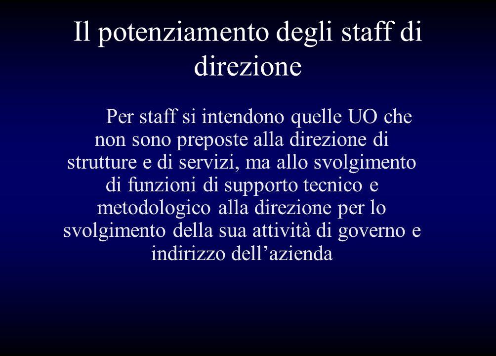 Il potenziamento degli staff di direzione Per staff si intendono quelle UO che non sono preposte alla direzione di strutture e di servizi, ma allo svo
