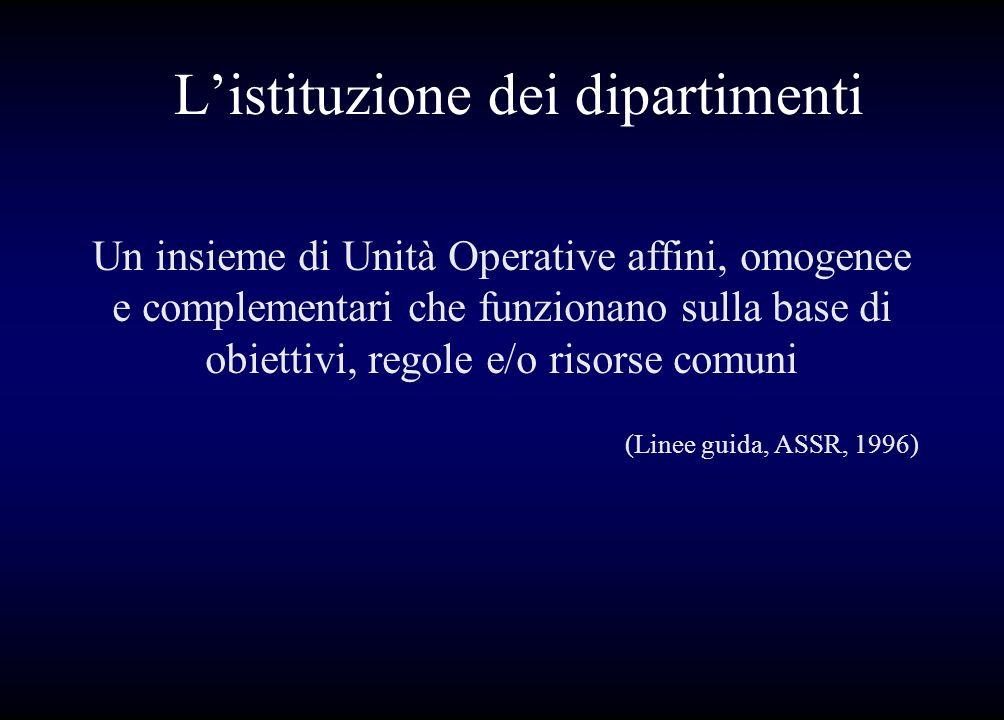 Listituzione dei dipartimenti Un insieme di Unità Operative affini, omogenee e complementari che funzionano sulla base di obiettivi, regole e/o risors