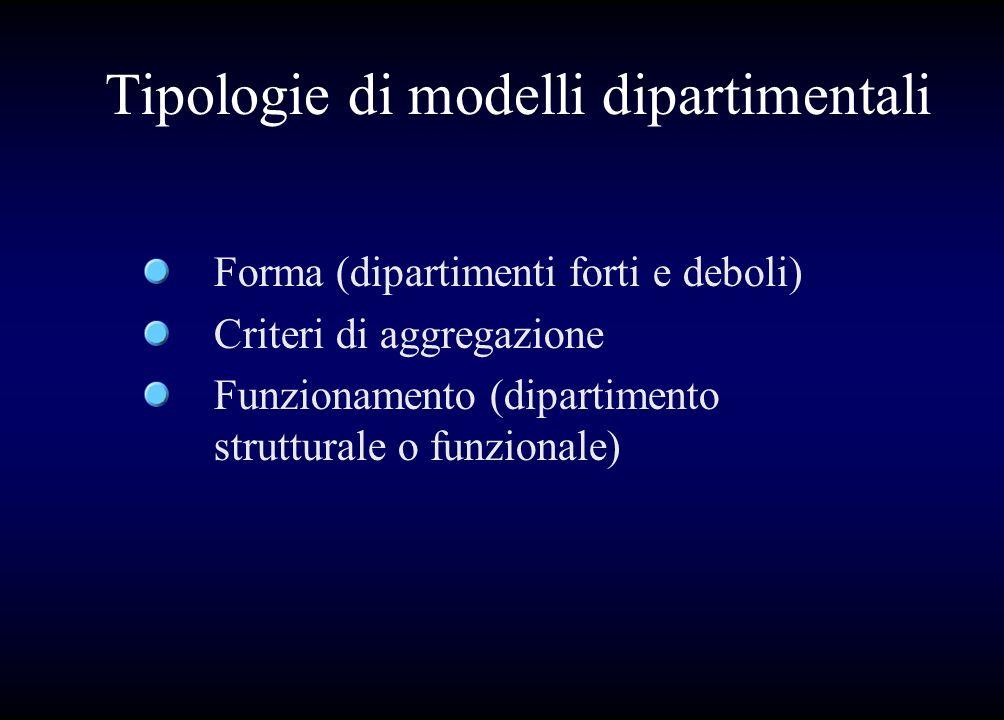 Tipologie di modelli dipartimentali Forma (dipartimenti forti e deboli) Criteri di aggregazione Funzionamento (dipartimento strutturale o funzionale)