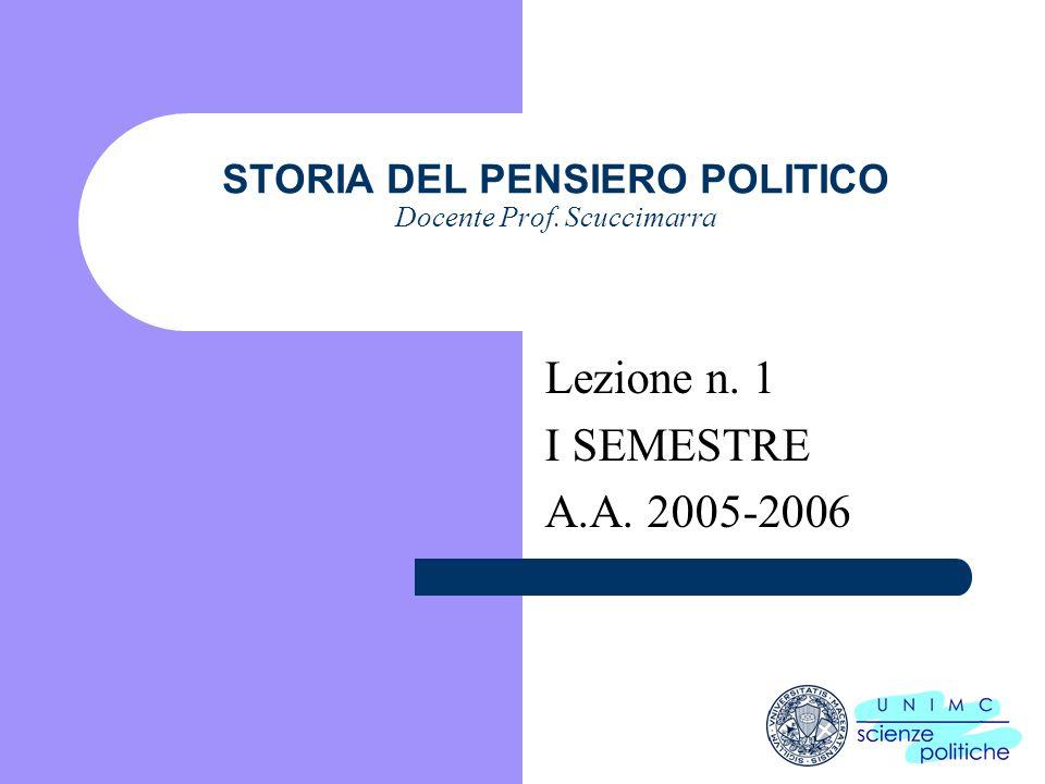 i STORIA DEL PENSIERO POLITICO Docente Prof. Scuccimarra Lezione n. 1 I SEMESTRE A.A. 2005-2006