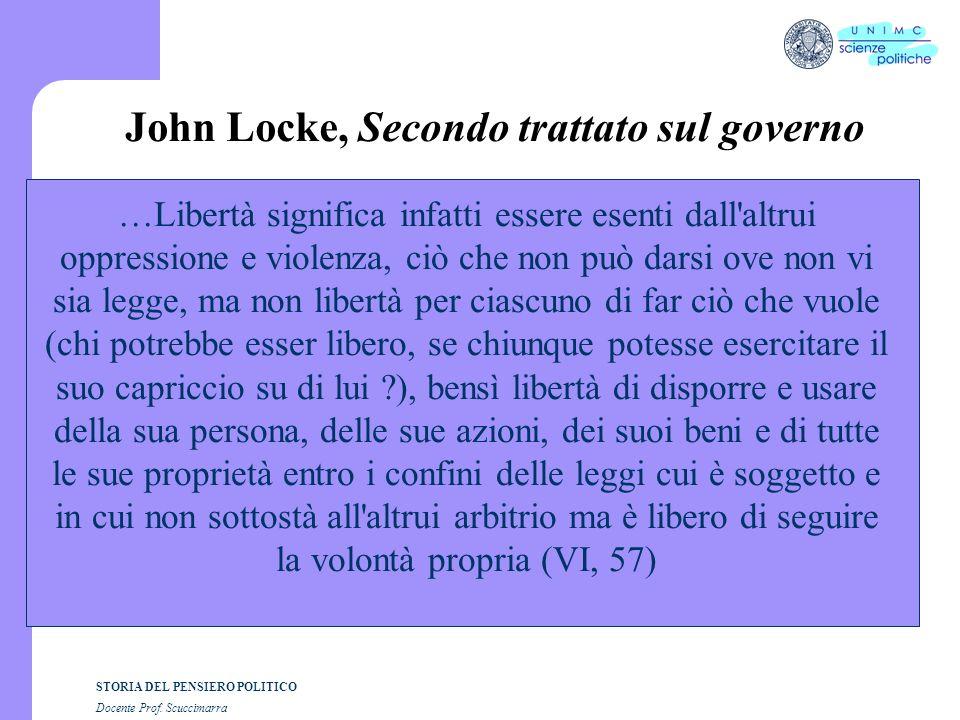 STORIA DEL PENSIERO POLITICO Docente Prof. Scuccimarra John Locke, Secondo trattato sul governo …Libertà significa infatti essere esenti dall'altrui o