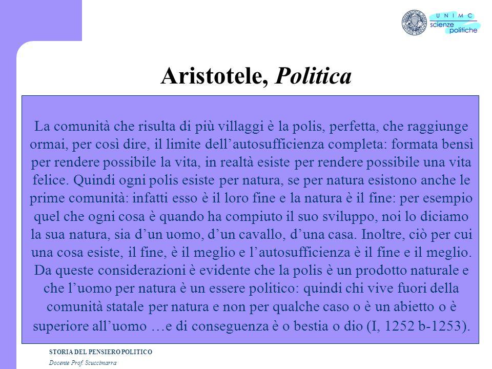 STORIA DEL PENSIERO POLITICO Docente Prof. Scuccimarra Aristotele, Politica La comunità che risulta di più villaggi è la polis, perfetta, che raggiung