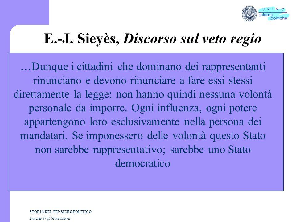 STORIA DEL PENSIERO POLITICO Docente Prof. Scuccimarra E.-J. Sieyès, Discorso sul veto regio …Dunque i cittadini che dominano dei rappresentanti rinun